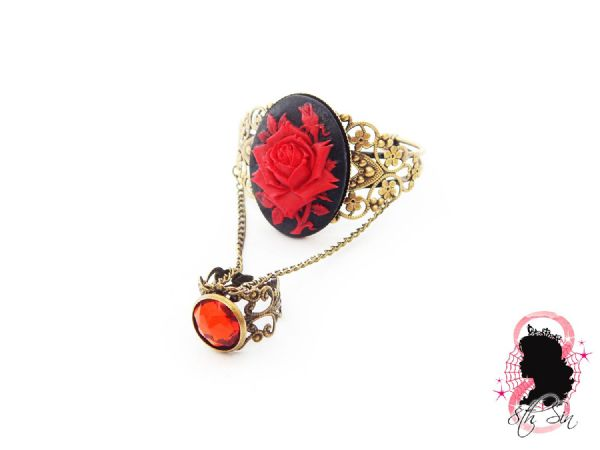 Antique Bronze and Red Rose Bangle and Ring